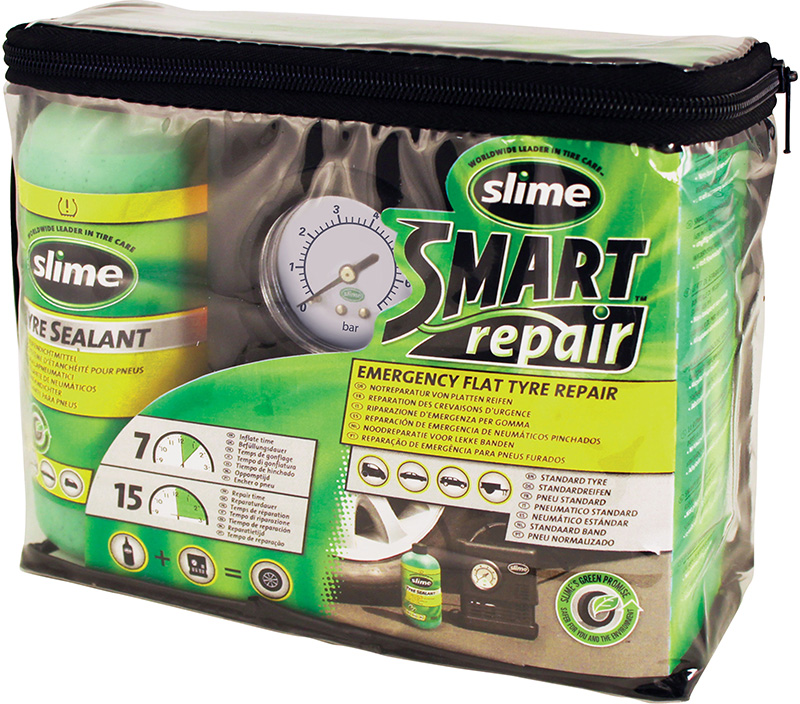 Opravná sada na opravu pneu s kompresorem, místo rezervy, Slime smart